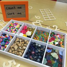 """Count me, sort me"" collection. Open ended loose parts in a tinker tray. Numbers Kindergarten, Numbers Preschool, Math Numbers, Preschool Activities, Kindergarten Inquiry, Kindergarten Addition, Early Years Maths, Early Years Classroom, Early Math"