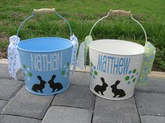 Easter bucket 5 quart Personalized metal bucket name by DeLaDesign, $20.00