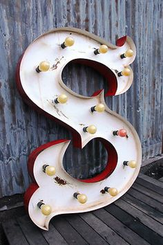 HUGE Metal light up carnival LETTER S Vintage style industrial sign shop display