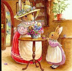 """by Brian Fox Patterson - """"Mummy Can We Make Marsh Mallow Sweets """" Rabbits Flowers Foxwood Tale Postcard"""