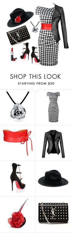 """""""Black and White and Red All Over"""" by mjbogner ❤ liked on Polyvore featuring Bling Jewelry, Dolce&Gabbana, Christian Louboutin, Piers Atkinson, Yves Saint Laurent and Mary Kay"""