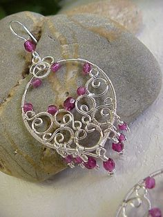 Oriental Earrings in Vivid Pink and Silver    Wire by Juditta, $20.00