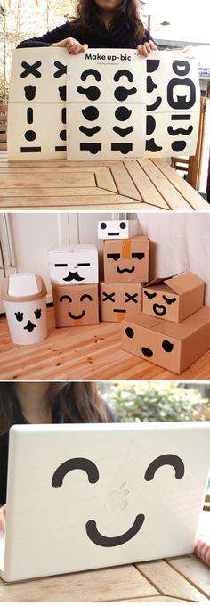 For your kid's room decoration. Put eyes and mouth on everything! ( Etsy: http://www.etsy.com/listing/100692107/big-making-emoticons-make-up-stickers )