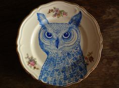 ceramic markers on a china plate: painted by Magda Boreysza, Scotland