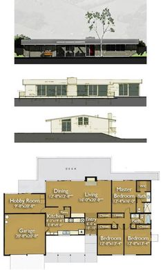 12 best Eichler House Plans images on Pinterest   Design floor plans     Build an Eichler ranch house   8 original design house plans available today