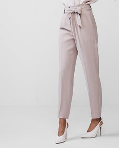 Petite High Waisted Tie Waist Ankle Dress Pant