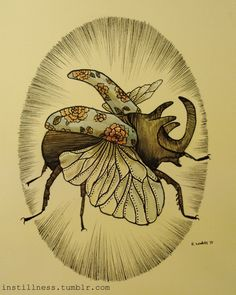 'Rhinocerous Beetle' Rebecca Ladds, 2011.Available HERE.