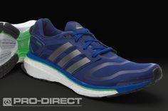 adidas Energy Boost - Mens Running Shoes - Night Blue-Neo Iron Metallic-Green Zest - Pro-Direct Soccer