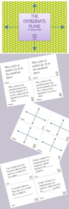 This set of task cards address all areas of the common core regarding coordinate plane tasks.  This includes identifying points in all four quadrants, polygons in the coordinate plane, naming quadrants, etc.