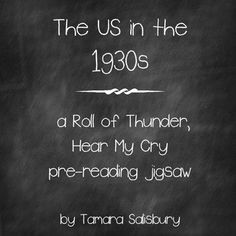This 2-day activity helps students learn more about the context of the setting and culture in Roll of Thunder, Hear My Cry.   On the first day, students are split into 5 different groups to research different aspects of the 1930s, including sharecropping, Jim Crow laws, and others.