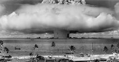 On July 25, 1946, the United States conducted Operation Crossroads, a nuclear test in the lagoon of tiny Bikini Atoll in the South Pacific. Many decommissioned ships from the US Navy fleet were purposely placed in the lagoon for the test in order to study any effects a nuclear bomb would have on them. In preparation for the test, residents of the atoll were relocated to another island, and Bikini remains uninhabited to this day as a result of unsafe radiation levels.