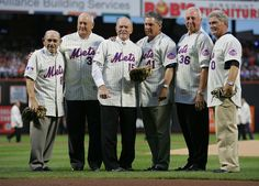 Yogi Berra, Nolan Ryan, Jerry Grote, Tom Seaver, Jerry Koosman, and Duffy Dyer pose for a photo during the presentation commemorating the New York Mets 40th anniversary of the 1969 World Championship team on August 22, 2009 at Citi Field in the Flushing neighborhood of the Queens borough of New York City.