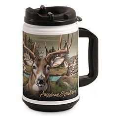 American Expedition TM24302 Thermal Mug Whitetail Deer Collage 24 oz MultiColor >>> Check out the image by visiting the link.