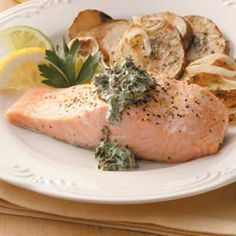 #salmon with spinach sauce