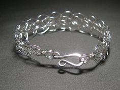 Sterling Silver Wire Crocheted Bracelet by JerricaFields on Etsy