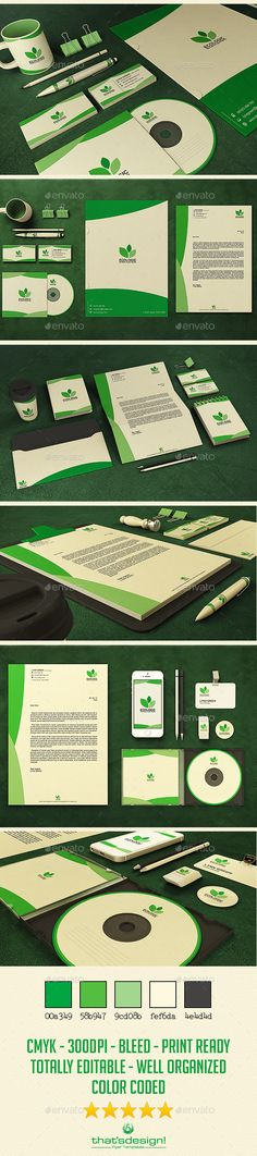 Green and Ecologic #Corporate #Identity - #Stationery Print Templates Download here: https://graphicriver.net/item/green-and-ecologic-corporate-identity/10379613?ref=alena994