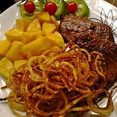 Mustáros-borsos sertésszelet sült hagymával Recept képpel - Mindmegette.hu - Receptek Just Eat It, Spaghetti, Food And Drink, Beef, Ethnic Recipes, Meat, Noodle, Steak