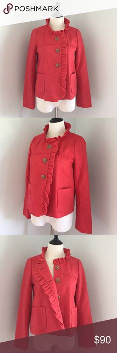 J. Crew Jacket LIKE NEW!! Gorgeous burnt red 100% wool jacket. Fully lined and in mint condition. So beautiful and perfect for fall. J. Crew Jackets & Coats