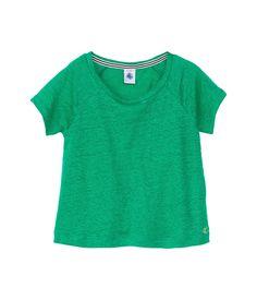 T-shirt fille manches courtes en jersey lin uni vert Charles - Petit Bateau