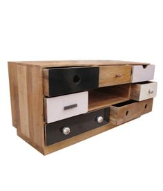 TV Cabinet With 7 Drawers & One Open Self By Wood Decor [ Natural Mango Wood ] @ Rs 10999