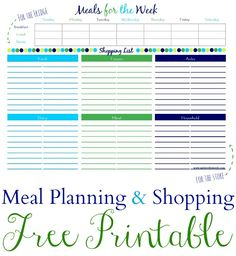 Meal Plan & Shopping List Free Printable