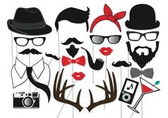 Hipster Photo booth Party Props Set - 24 Piece PRINTABLE - Deer Antlers, Mustache, moustache, Geek party, Vintage Photo Booth Props