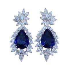 Superb Rare 32.25 carat Sapphire and Diamond Cluster Drop Earrings