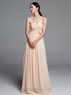 Beautiful Pearl Pink Chiffon with Flower(s) Sweetheart Empire Bridesmaid Dresses - dressesofgirl.com