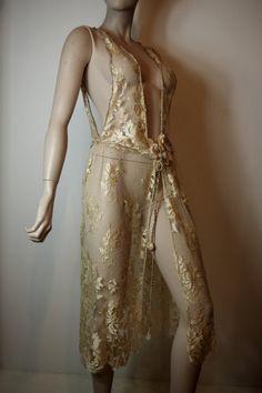 1920s gold lace dress