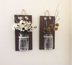 Mason Jar Wall Sconce (SET OF TWO) Hand Crafted Rustic Wall Decor Mason Jar Hanging Vase Reclaimed Wood Wall Sconce Reclaimed Wood Sconces Handmade Wall Planter Shabby Chic Decor