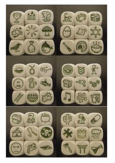 rory's story cubes - would be cool to make your own with wooden cubes and do THEMES, like Valentines. Speech Language Therapy, Speech And Language, Story Dice, Story Cubes, Fortune Telling Cards, Wooden Cubes, Story Stones, Too Cool For School, Pen And Paper