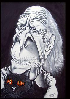Caricatura do escritor português Eugénio de Andrade por ANTÓNIO SANTOS - SANTIAGU