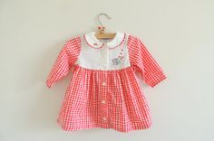 Vintage Carter's Red Gingham Dress with Mouse Embroidery and Ric Rac Pinafore Summer Photo Prop Baby Girl Clothes Infant size 9 12 months on Etsy, $18.00
