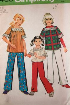 Vintage 1970s girls' smock top and pants pattern.