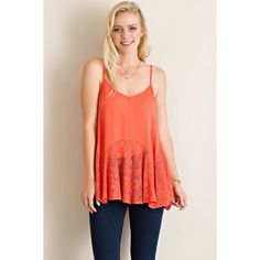 ✨COMING SOON✨Gorgeous Coral Lace Tank ✨This is not available yet. Like this listing to be notified when it's available✨100% Rayon. Solid crinkle flare slip tunic top with lace details. Adjustable straps. Partially see-through. Non-Sheer. Lightweight. likeNarly Tops Tank Tops