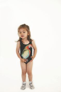 The tropical parrot is also used for swimwear at Popupshop summer 2014 kids fashion