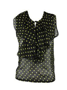 Amazon.com: Otis & Maclain Womens Chartreuse/Black Polka Dot Blake Sheer Top XS: Clothing