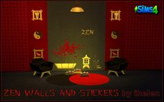 Zen Walls & Stickers at ihelensims via Sims 4 Updates