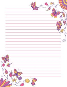 Free printable floral butterfly stationery for x 11 paper. Available in JPG or PDF format and in lined and unlined versions. Printable Lined Paper, Free Printable Stationery, Floral Printables, Templates Printable Free, Scrapbook Paper, Scrapbooking, Pretty Writing, Notebook Paper, Stationery Paper