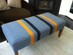 WEst Point Blanket redone on Barnwood Bench, Very Ivy League Vintage Modern