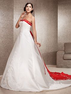 A-line/Princess Plus Sizes Wedding Dress - Ivory & Ruby (color may vary by monitor) Chapel Train Strapless Satin - USD $ 159.99