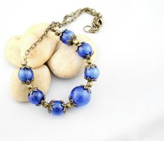 Cobalt Blue Glass Necklace  Blue Glass Bead by thejewelstreet, $47.99