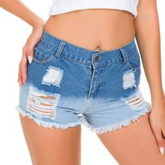 acf189adf8 fashion 1pcs High waist Women's Plus size hole jeans denim shorts 2019 Summer  Denim cotton broken hole shorts Ladies Skinny short jeans