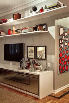 Modelo para a sala de estar, cores e móveis