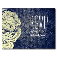 rustic navy blue burlap lace country wedding RSVP Post Cards