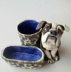 Custom American Bulldog Sculpture Ceramic Desk Set RESERVED for poopiedog (BALANCE) on Etsy, $67.00