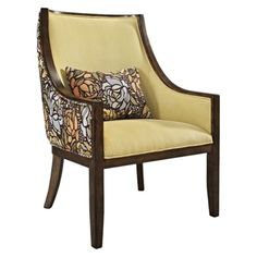 Colby Upholstered Accent Arm Chair With Pillow - Primavera Lemongrass - Really dig the solid/print combo, although not my favorite pattern. Wingback Chair, Armchair, Wood Arm Chair, Feng Shui, Home Goods, Accent Chairs, Upholstery, Sweet Home, Pillows