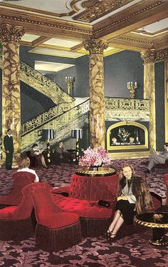 Fairmont Hotel Grand Staircase, Dorothy Draper Design, 1940s | Flickr - Photo Sharing!