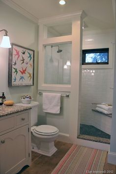 BATHROOM ~ Walk-in shower - could we do something like this in the 0KB bathroom? We do not need the window wall though.