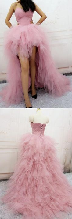 Prom Dresses Ball Gown, Popular Prom Dresses Pink, Fashion Pink Tulle Tiered Front Short Long Back Prom Dresses Hi-Lo Evening Party Dress, from the ever-popular high-low prom dresses, to fun and flirty short prom dresses and elegant long prom gowns. Pink Party Dresses, Cute Prom Dresses, Beautiful Prom Dresses, Pink Dress, Pink Tulle, Dress Prom, Homecoming Dresses, Wedding Dresses, Pageant Dresses